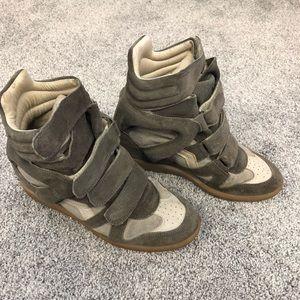 Isabel Marant Bekett Taupe Wedge Sneaker